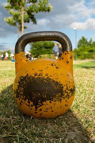 "Kettlebell - A 16-kilogram (35 lb) ""competition kettlebell"""