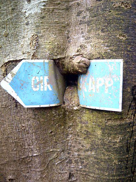 """Schëld um Trëppelwee tësccht der Constrëfermillen an dem Buergkapp. Initial Opschrëft eventuell """"Circuit Buergkapp"""""""