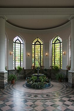 The Conservatory showcases plants and, at one end, this fountain.