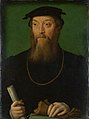 Corneille de Lyon (formerly attributed) - Portrait of a Man holding a Scroll and Gloves - National Gallery.jpg