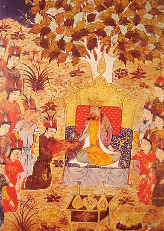 Mongol Empire - Coronation of Ögedei Khan in 1229 as the successor of Genghis Khan. By Rashid al-Din, early 14th century.