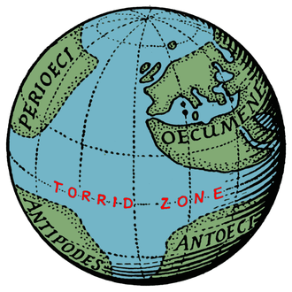 Antipodes - The Terrestrial Sphere of Crates of Mallus (c. 150 B.C.). Note the region of the antipodes in the southern half of the western hemisphere.