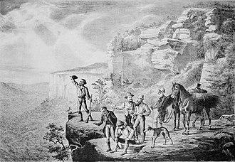 1813 crossing of the Blue Mountains - Earliest pictorial representation of the crossing from The Sydney Mail, 25 December 1880