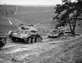 Thursley - Cruiser Mk IV tanks of 5th Royal Tank Regiment, 3rd Armoured Brigade, 1st Armoured Division, on Thursley Common, Surrey, July 1940. H2483