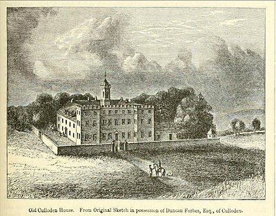 Culloden House, 1746 where the Jacobite leader Charles Edward Stuart had his headquarters and lodgings in the days leading up to the Battle of Culloden Culloden House (old).jpg