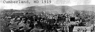 History of Cumberland, Maryland - Panoramic view of Cumberland, 1919