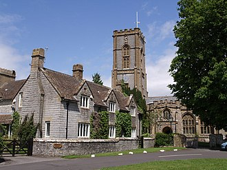 Curry Rivel - Image: Curry Rivel Manor Farmhouse and church geograph.org.uk 438592