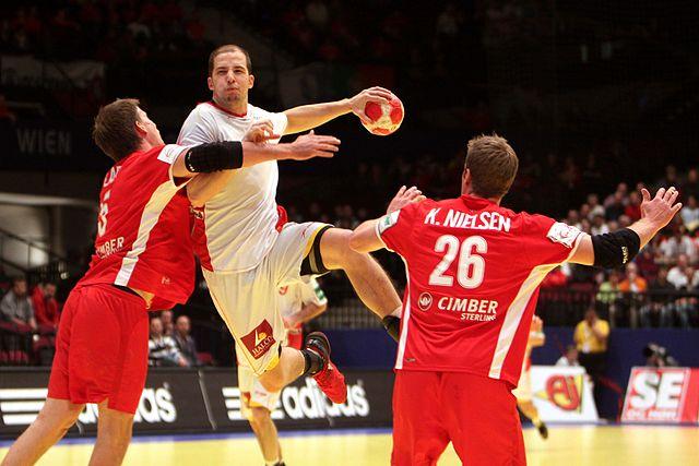 Danmark mot Spania, håndball-EM 2010. (Wikimedia Commons)