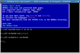 Interface de DOSBox