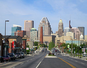 Downtown Baltimore - Looking West on Fayette Street towards Downtown