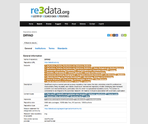 Registry of Research Data Repositories - A screenshot of the DataDryad entry in re3data.org.