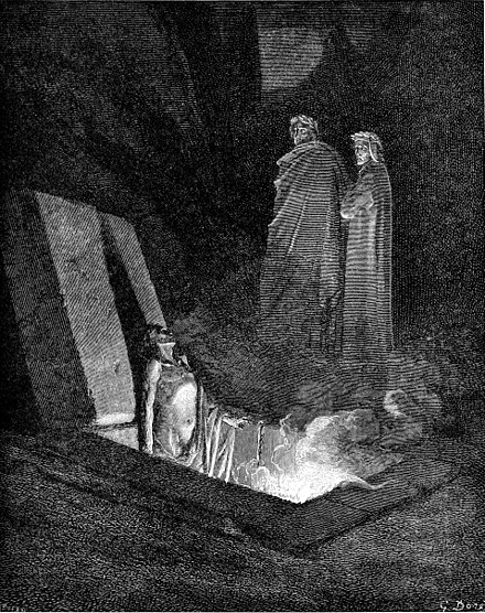 Dante Alighieri meets Epicurus in his Inferno in the Sixth Circle of Hell, where he and his followers are imprisoned in flaming coffins for having believed that the soul dies with the body, shown here in an illustration by Gustave Dore. DVinfernoUbertiAddressesDante m.jpg