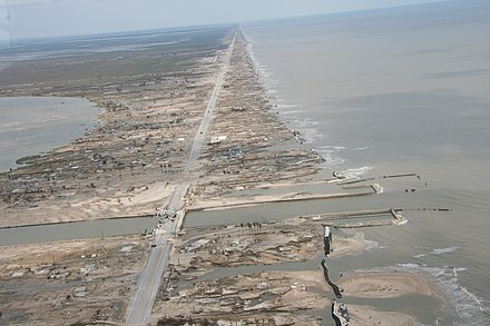 Total destruction of the Bolivar Peninsula (Texas) by Hurricane Ike's storm surge in September 2008 Damage caused by Hurricane Ike in the Bolivar Peninsula, Texas - Bolivar62(IMG 9193).jpg