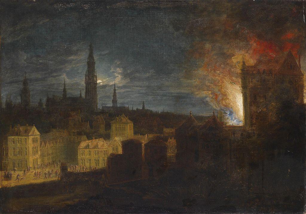 Daniel van Heil Der Brand des Antwerpener Rathauses 1576.jpg