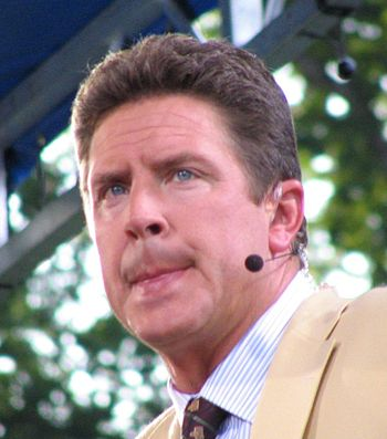 Former Pitt quarterback Dan Marino's is a member of both the pro and college football halls of fame. Danmarino crop.jpg