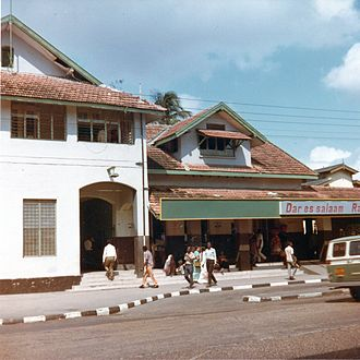 Railway stations in Tanzania - The Dar es Salaam railway station, Central line, in the year 1973.
