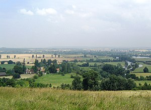 Wittenham Clumps - View from Round Hill with Day's Lock and the River Thames curving along the tree line to the left