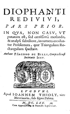 Jacques de Billy - Diophantus redivivus, 1670