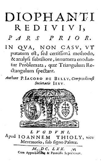 Jacques de Billy - Diophantus redivivus, 1670