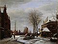 De Slijpsteenmarkt in Amsterdam met het gebouw 'Het Zeerecht' in de winter Rijksmuseum SK-A-1161.jpeg