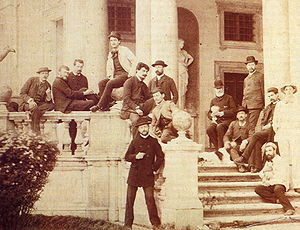 Claude Debussy - Debussy at the Villa Medici in Rome, 1885, at centre in the white jacket