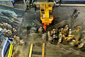 Defense.gov News Photo 110329-N-OS574-270 - U.S. Marines embark the amphibious transport dock ship USS Mesa Verde LPD 19 underway in the Atlantic Ocean as the Bataan Amphibious Ready Group.jpg