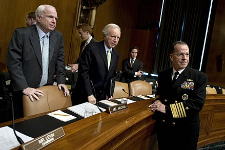 Senators Lieberman and John McCain talk with Navy Adm. Mike Mullen, chairman of the Joint Chiefs of Staff before a Senate Armed Services Committee hearing, 2010 Defense.gov photo essay 100617-N-0696M-128.jpg