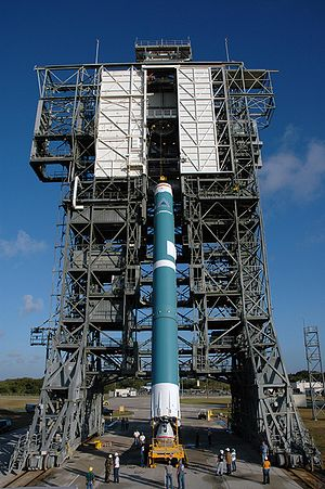 Delta II first stage erection.jpg
