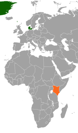 Map indicating locations of Denmark and Kenya