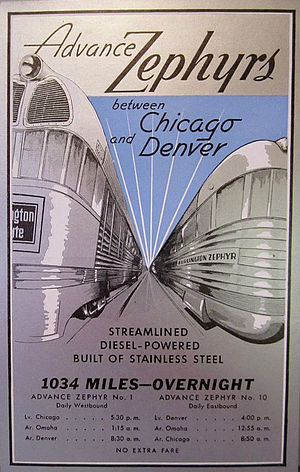 """Denver Zephyr - Early promotional postcard for the train.  It is billed as the """"Advance Zephyr"""" and when this card was printed, the train had yet to add any sleeping cars, being described as """"coach only--for the present""""."""