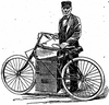 A drawing of an early steam velocipede and a man standing behind it