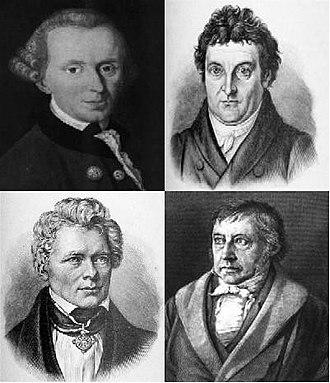 German idealism - Philosophers of German idealism. Kant (upper left), Fichte (upper right), Schelling (lower left), Hegel (lower right)
