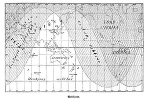 Transit of Venus, 1874 - Map showing the visibility of the 1874 transit of Venus