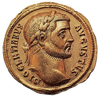 Augustus (title) - A Roman coin featuring the emperor Diocletian and the title Augustus on the right