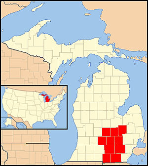 Roman Catholic Diocese of Lansing - Image: Diocese of Lansing map 1