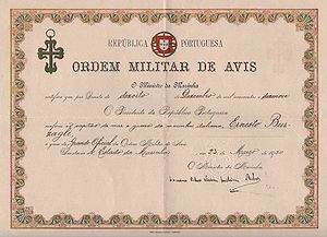 Order of Aviz - Certificate confirming that the Order of Aviz was conferred on Burzagli by the President of the Portuguese Republic in 1920.