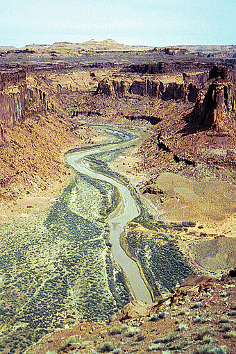 Erosion-resistant sandstones of Mesozoic age result in bands of continuous cliffs, central Colorado Plateau. Dirty devil river.jpg