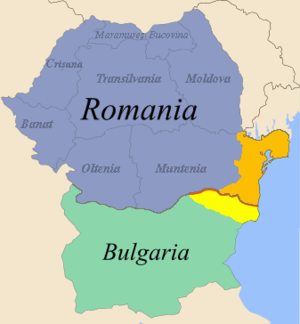 Southern Dobruja - Map of Romania and Bulgaria with Southern Dobrudja or Cadrilater highlighted in yellow. Northern Dobruja is highlighted in orange.