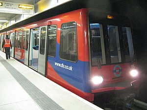 Woolwich Arsenal station - DLR train awaiting departure to Bank