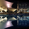 Double image of the outdoor theatre of The Esplanade – Theatres on the Bay and Marina Bay Sands, Singapore, under construction - 20091208.jpg