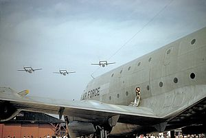 75th Troop Carrier Squadron - C-119 Flying Boxcars from Ashiya AB perform a flyover on Armed Forces Day 1955