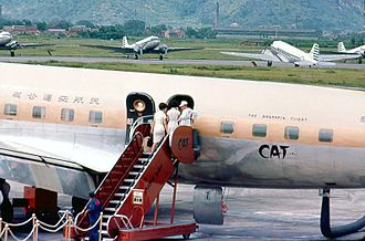 Taipei Songshan Airport - Civil Air Transport flight at Songshan Airport in 1966.