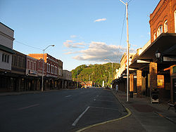 Downtown Elizabethton, looking east toward Lynn Mountain.