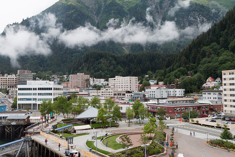 File:Downtown Juneau with Mount Juneau rising in the background.jpg