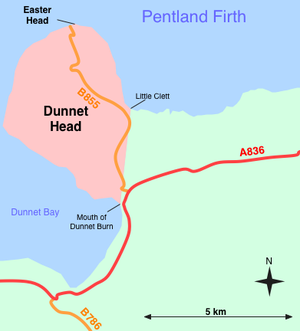 Dunnet Head - Sketch map of Dunnet Head, showing position of Easter Head