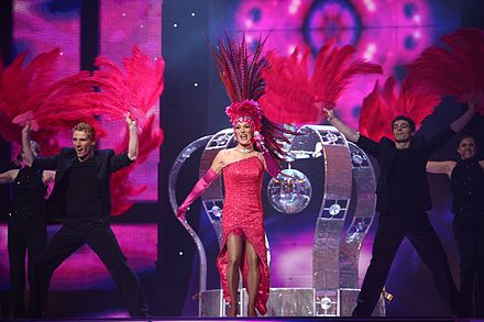 A contestant in the Eurovision Song Contest tries to impress the judges at her live audition ESC 2007 Denmark - DQ - Drama Queen.jpg