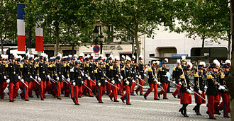 Military parade - Saint-Cyr cadets at the Bastille Day Military Parade on the Champs-Élysées