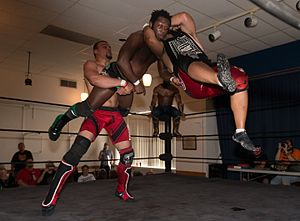 The Latin American Xchange - EYFBO (Mike Draztik on the left and Angel Ortiz on the right) double-team Rich Swann