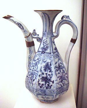 Chinese influences on Islamic pottery - Early Chinese blue and white porcelain, c 1335, early Yuan dynasty, Jingdezhen, using a Middle-eastern shape
