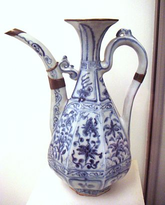 Blue and white pottery - Early Chinese blue and white porcelain, c. 1335, in the Yuan dynasty; Jingdezhen ware.